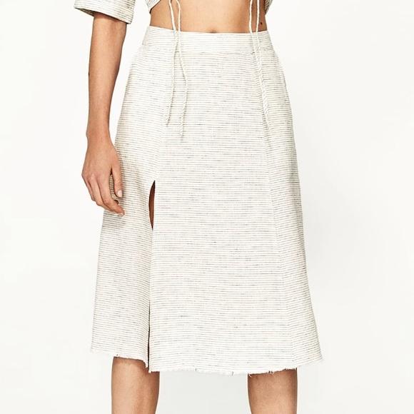 49108966d7 Zara Skirts | Nwt Striped Linen Skirt With Thigh Slit | Poshmark